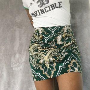 Green & Gold Paisley Mini Skirt