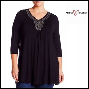Olivia Sky Tops - OLIVIA SKY Tunic Pullover Embellished Swing Top