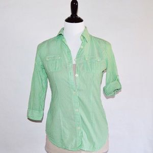 American Eagle Outfitters Tops - AEO Green & White Pinstriped Top