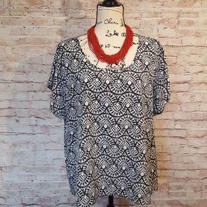 Style & Co Tops - Style&Co. Blouse Short Sleeve Black/White Sz L