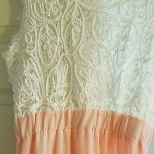 Sheer Pink with white lace swirl top.