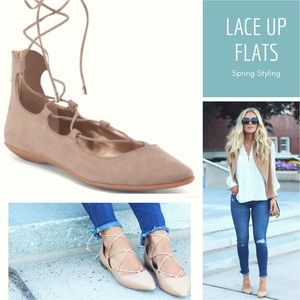 NWT BCBGENERATION Micro Gilly Lace Up Flats 7.5