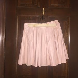 Baby Pink Pleated Faux Leather Skirt