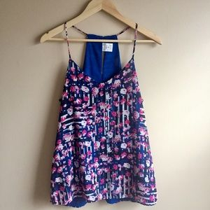 Tops - NWOT Reversible Floral Print/Blue Tank