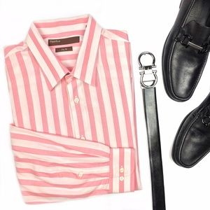 Perry Ellis Other - Perry Ellis City Fit Pink Striped Button Up Shirt