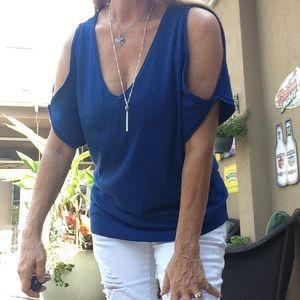  Royal Blue Open Shoulder Stretch Knit Top