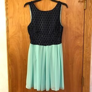 B Darlin Dresses & Skirts - Lace Eyelet and Chiffon Dress in Mint and Navy