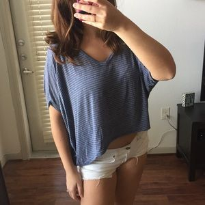 Super Soft Blue Loose-Fitting High-Low Top