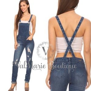 DESTROYED DENIM OVERALLS MEDIUM WASH
