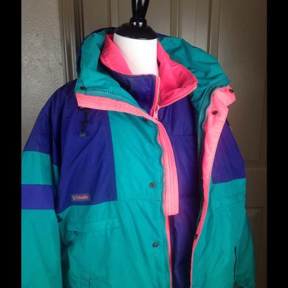 VTG 80's 90's Ski Coat Columbia Matching Puffer Lg