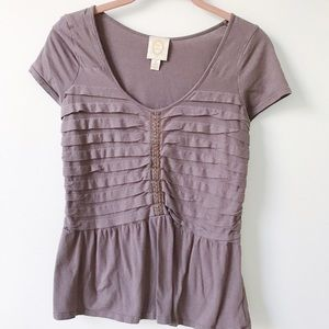 Anthropologie Ric Rac Stacked Pleats Peplum Top