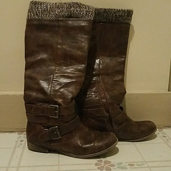 Shoes Brown Boots With Knit Top Poshmark