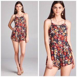 Boutique Pants - ❗️CLEARANCE❗️Navy Floral Lace Up Romper S M L