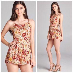 Boutique Pants - ❗️CLEARANCE❗️Khaki Floral Lace Up Romper S M L