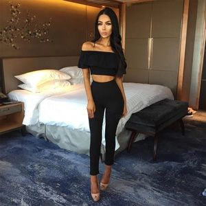 4baf0fc660d173 ... Brand New Sexy 2-Piece Black Top   Pants ...