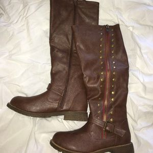 Journee Collection Shoes - Journee round toe studded riding boots sz 8 EUC