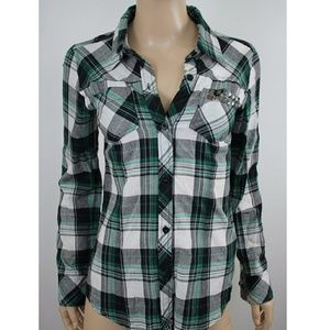 Fox Studded Flannel Plaid Button Down