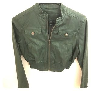 Jackets & Blazers - Vintage Green Leather Jacket