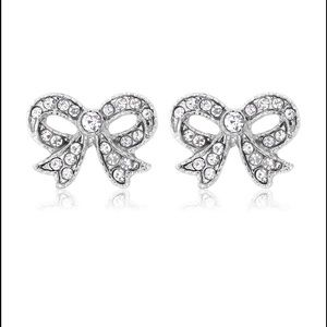 Jewelry - White Gold Plated Cubic Zirconia Bow Earrings