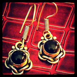 Vintage  Jewelry - Sterling earrings black onyx