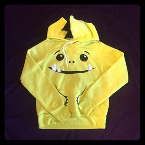 Sweaters - Yellow Monster Pullover Hoodie - Large