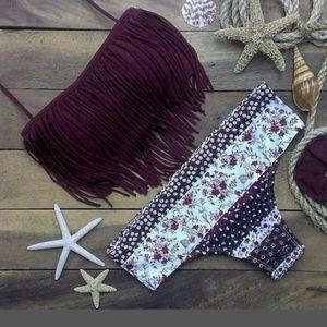3x1 Other - Perfect Fringe Bikini maroon & white print bottoms