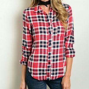 Red Plaid Long Sleeve Button Down