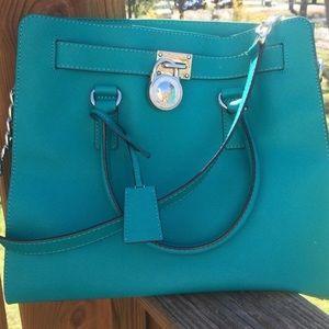 Michael Kors Handbags - SALE!!!!! Michael Kors Hamilton Tote Aqua NWOT