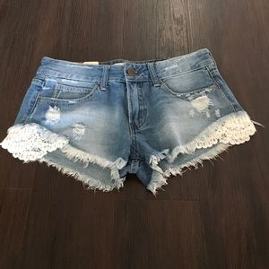 Denim - crochet shorts in sm med lg