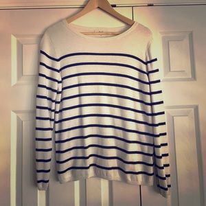 Sweater, white with black stripes