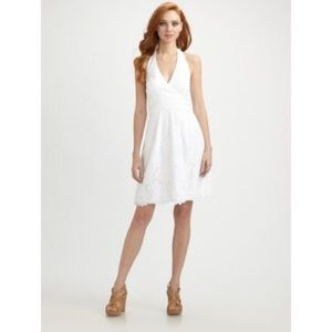 White eyelet lace Lilly Pulitzer halter dress