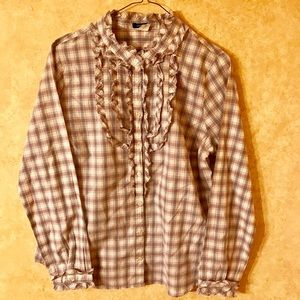 J. Crew Tops - J. Crew Suzannah Ruffle Front Plaid Button Down