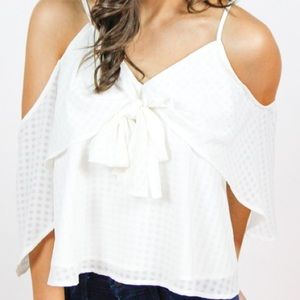NWT Impeccable Pig white flutter sleeve top S
