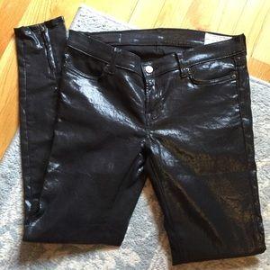 All Saints Denim - All Saints Black Liquid Denim Skinny Zipper Jeans