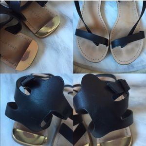 Zara Shoes - Black Zara strappy ankle leather gold flat sandals