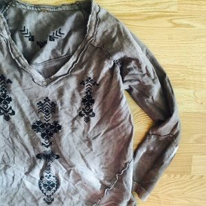 Free People Embroidered Patched Pullover