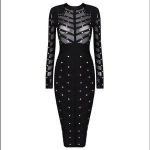 Black Bandeau Dress with Gold Studs- Sz-L
