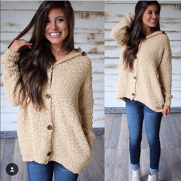 Thirty one Boutique Mustard Popcorn sweater