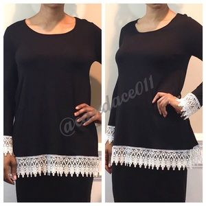 Lace & Jersey Tunic Top (Black)