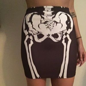 DollsKill Black Mini Skirt W/ White Skeleton !