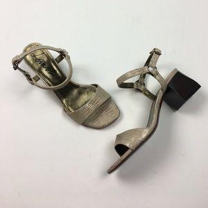 Lanvin Shoes - Gorgeous Metallic Lanvin Strap Block Heels 38 / 8