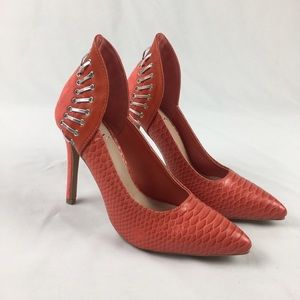 Shoes - New Scene Maitlyn Coral Snakeskin Pumps