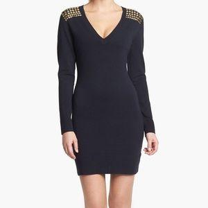 Michael Kors Studded V-Neck Black Dress