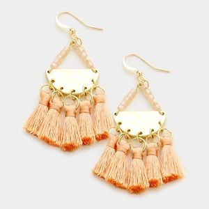 Tassel Chandelier Earrings...Color: Peach/Gold