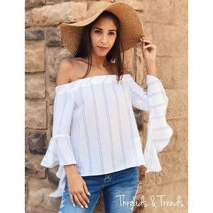 Threads & Trends Tops - 🌸🆕Butterfly Sleeve Off Shoulder Blouse