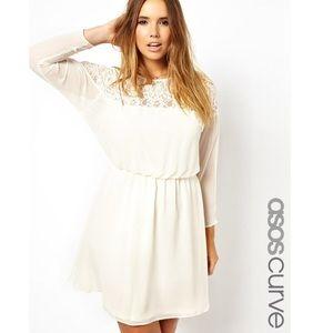 ASOS Curve Dresses & Skirts - Asos curve cream batwing lace dress