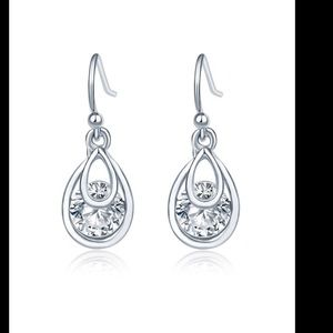 Jewelry - Teardrop Faux Diamond Drop Earrings
