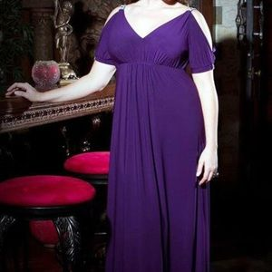 Kiyonna Dresses & Skirts - Kiyonna purple cold shoulder gown