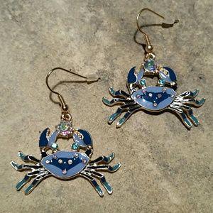 Betsey Johnson Blue Crab Ocean Dangle Earrings