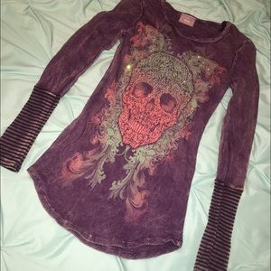 Vocal Long Sleeve Thermal Top Skull Biker Small